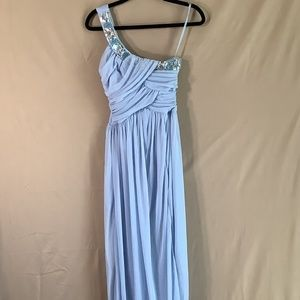 NWT Trixxi Beaded One-Shoulder Gown in Baby Blue 3